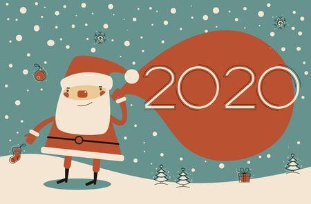 Vector 2020 Happy New Year background. Creative happy christmas design.