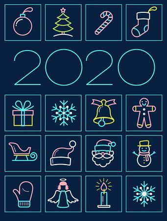 SET Holiday and Christmas Icons. Thin line style, flat design