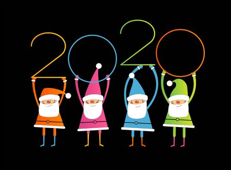 Creative happy new year 2020 design with Santa. New Year background.