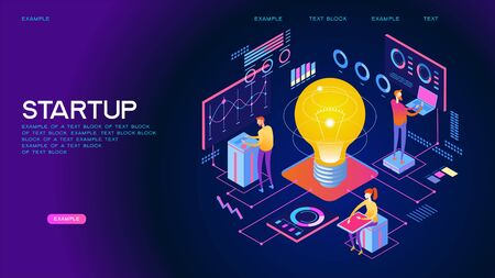 Teamwork of people to achieve the goal. Launch concept. New product on the market. Isometric vector illustration. 3D vector isometric illustration.