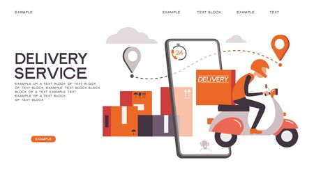 Fast delivery by bike via mobile phone. Ecommerce concept. Online shopping. Online delivery service concept. Online order tracking. City logistics. Vector illustration