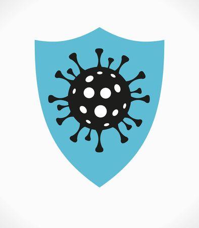 Shield Virus, Modern medical WEB BANER. Coronavirus background. Virus Cell Icon. Stop corona virus concepts.