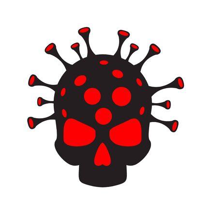 Coronavirus concept. Virus and skull. Abstract illustration Ilustração Vetorial