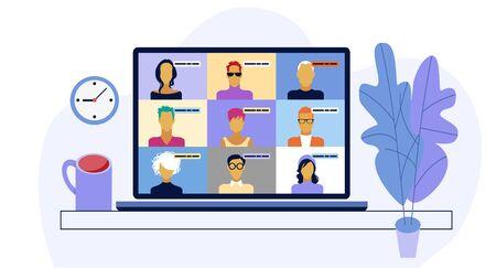 Rozmawiaj ze znajomymi online. Zbiorowe wirtualne spotkanie i grupowe wideokonferencje. Koncepcja pracy zdalnej Ilustracje wektorowe
