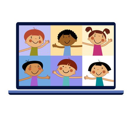 Chat with CHILD online. Collective virtual meeting and group video conferencing. Remote work concept Vecteurs