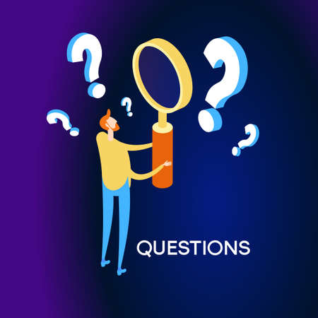 A man holds a magnifying glass and looks through the questions. Frequently asked questions concept. Query concept. Investigation and information retrieval. Flat isometric vector illustration. Ilustrace