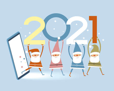 Vector 2021 Happy New Year background. Ð¡hristmas card. Holiday gift card, Festive poster, web banner, header for website. Winter season with traditional elements. Flat vector illustration.