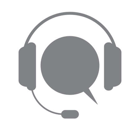 Support icon. Concept of consultation. Consultant. Secretary. Idea hotline support service with headphones. Telemarketing. Flat vector illustration.