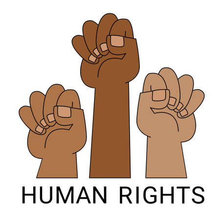 Fists hands up. Concept of unity. Revolution. Fight. Idea cooperation. Flat vector illustration. Illusztráció