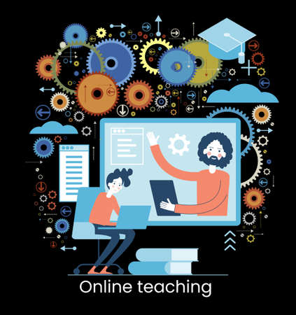 Online learning concept. Internet classes. Online learning metaphors. Educational webinar. Online teacher. Webinar. Digital class. Graphic elements set. Vector illustration in flat style. Illusztráció