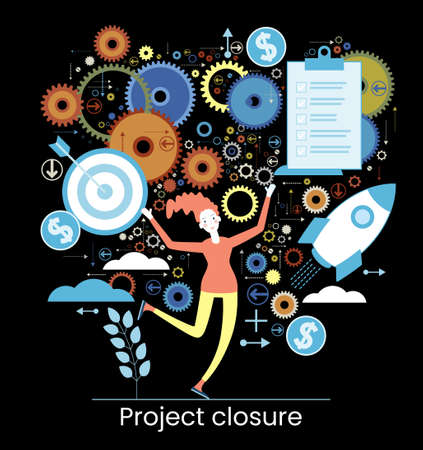 Project life cycle concept. Business analysis. Initiating and closing a project. Terms of implementation of projects. Drawing up documentation. Abstract metaphor. Graphic elements set. Vector illustration in flat style.