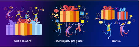Online reward concept. Digital referral program. People receive a gift box. Web baner for landing page. Template, homepage, poster, ui, coupon, flyer. 3d isometric vector illustration.