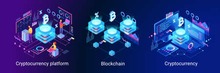 Blockchain technology. Cryptocurrency marketplace of bitcoin mining farm in smart city. Digital cloud network for crypto currency .. Modern 3d isometric vector illustration of web page. Design concept.