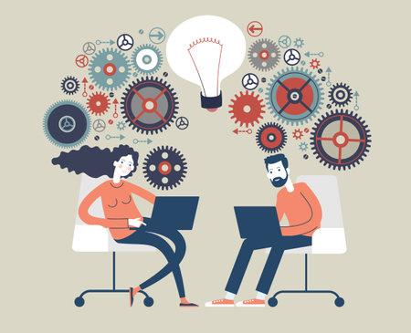 Big Idea Team. Business concepts. The concept of human intelligence. People has an idea. Brain storming Illusztráció