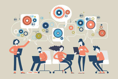 People with gears and speech bubbles. Teamwork of people in the business world