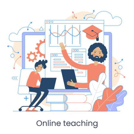 Webinar, Digital classroom, Online teaching, Internet classes. Online learning metaphors. Educational webinar. Online teacher. Digital class. Graphic elements set. Vector illustration in flat style.