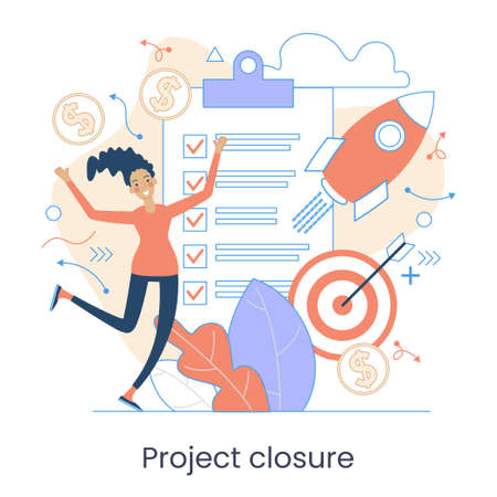 Project initiation, Project closure, Deadline concept. Business analysis. Terms of implementation of projects. Drawing up documentation. Abstract metaphor. Graphic elements set. Vector illustration in flat style.