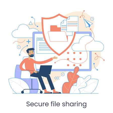 Secure data transmission concept. Access right. Safe file sharing. Protected web traffic. VPN. Analytical traffic assessment. Sharing documents. Graphic elements set. Vector illustration in flat style.
