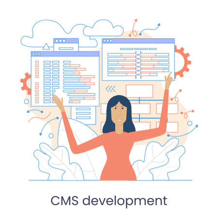 Website architecture concept. PHP and MySql. CMS content management system. Web development. Software testing. Interface design,  Graphic elements set. Vector illustration in flat style.