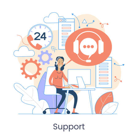 Website menu help concept. Online guides. Support landing page sections. Frequently asked Questions. Metaphor contact us. Help user interface. Customer assistance user interface elements. Graphic elements set. Vector illustration in flat style. Illusztráció