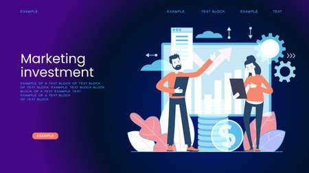 Marketing accounting concept. Finance management. Marketing investment. Digital auditing, business plan. Digital sales. Demand planning, Graphic elements set. Vector illustration in flat style. Illusztráció