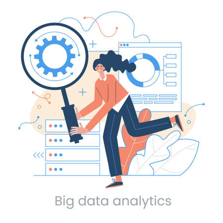 Enterprise strategy development concept. Big data analytics. Business Intelligence. Business rule. Data management abstract metaphor. Vector illustration set. Application software.  Vector illustration in flat style.