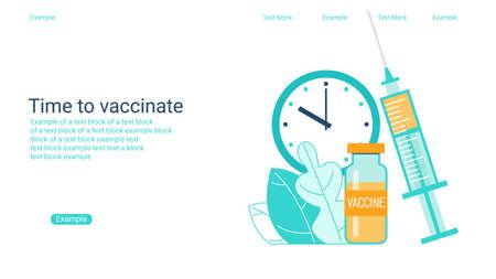 Immunization campaign. Vaccination concept. Health care and medical treatment .. Syringe and vial against the virus. Flat vector illustration. Illusztráció