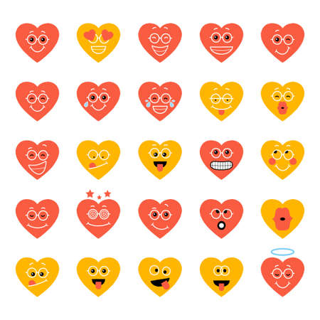 Smiling Cartoon heart Emotion. Icon Set Vector Illustration.