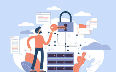 Secure data transmission concept. Access right. Safe file sharing. Protected web traffic. VPN. Analytical traffic assessment. Sharing documents. Graphic elements set. Vector illustration in flat style. Vektoros illusztráció