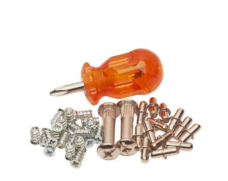 Screwdriver and screws shallow
