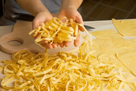 make a paste: Noodles preparation from dough in home cuisine