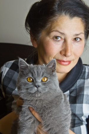 Pretty woman with a gray cat British breed Stock Photo