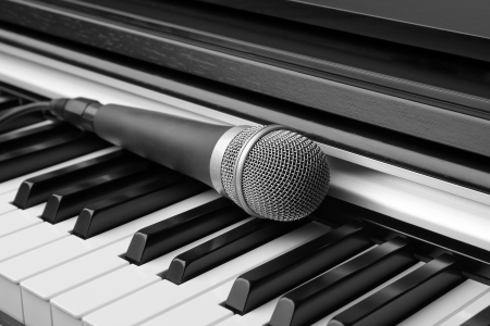 Electronic keyboard and microphone