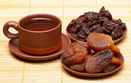 Dried fruits and tea   photo