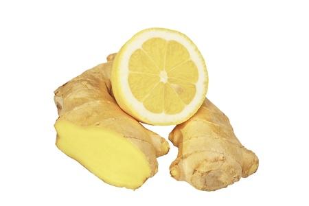 Lemons and ginger on a white background