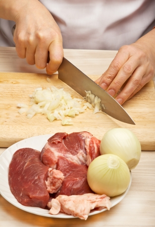 Woman cuts onions photo