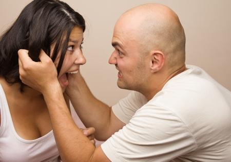 Young couple fighting Studio shot photo