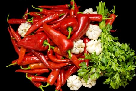 Red hot pepper , black background