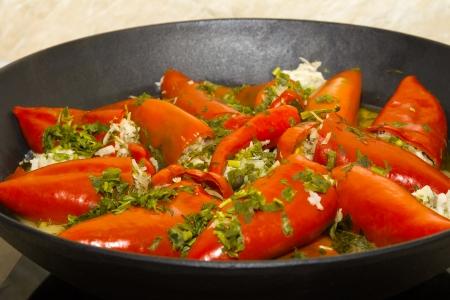Stuffed paprika with meat Stock Photo