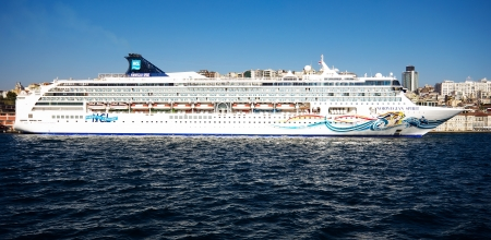 ISTANBUL - OCTOBER 09  Celebrity MSC DIVINA, docked in port on October 09, 2013 in Istanbul  Karakoy Port