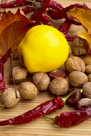 quince: Best natural spices of pepper, walnuts,quince,almonds