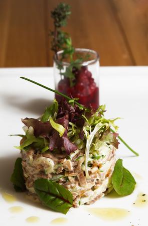 Fish tartare with cranberry sauce