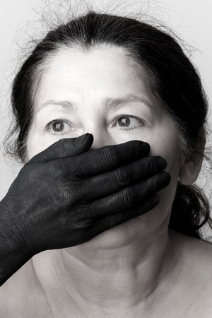 Tied mouth and blindfold eyes.Censored and freedom of speech