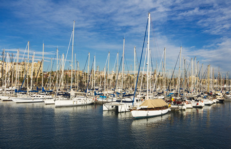 espanya: Yachts in Port Forum in Barcelona, Spain.