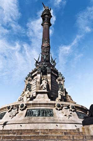 colom: Spain Columbus stand near street Rambla in Barcelona