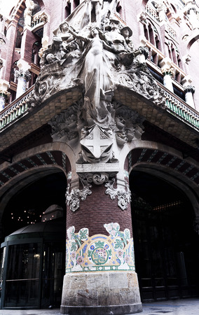 modernisme: Facade of the Palace of Catalan Music in Barcelona