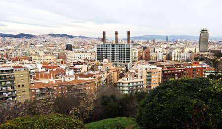 Residence district in Barcelona from Montjuic.
