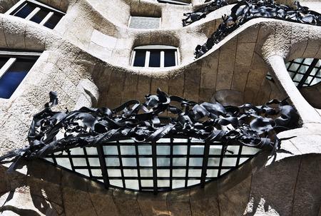 modernist: Fairytale house facade Casa Mila, designed by Antonio Gaudi.