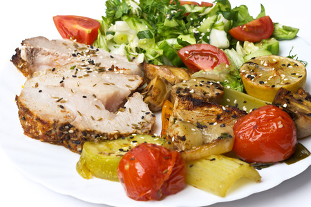 rocked: Roulade with meat with vegetables and spices. Stock Photo