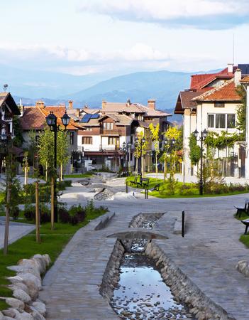 Street view and stone paved road, Bansko, Bulgaria Reklamní fotografie